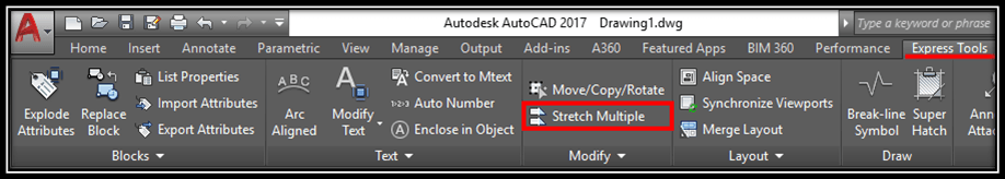 Stretch Multiple Objects Autocad